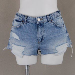 Topshop | cory distressed denim short shorts | 6